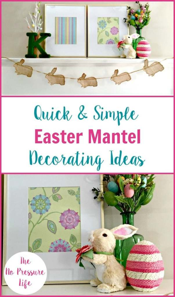 Such easy Easter mantel decorating ideas! Pretty enough to leave up all spring. | Easter mantel, Easter mantel decor, spring mantel, spring mantel decorations, easy spring mantel