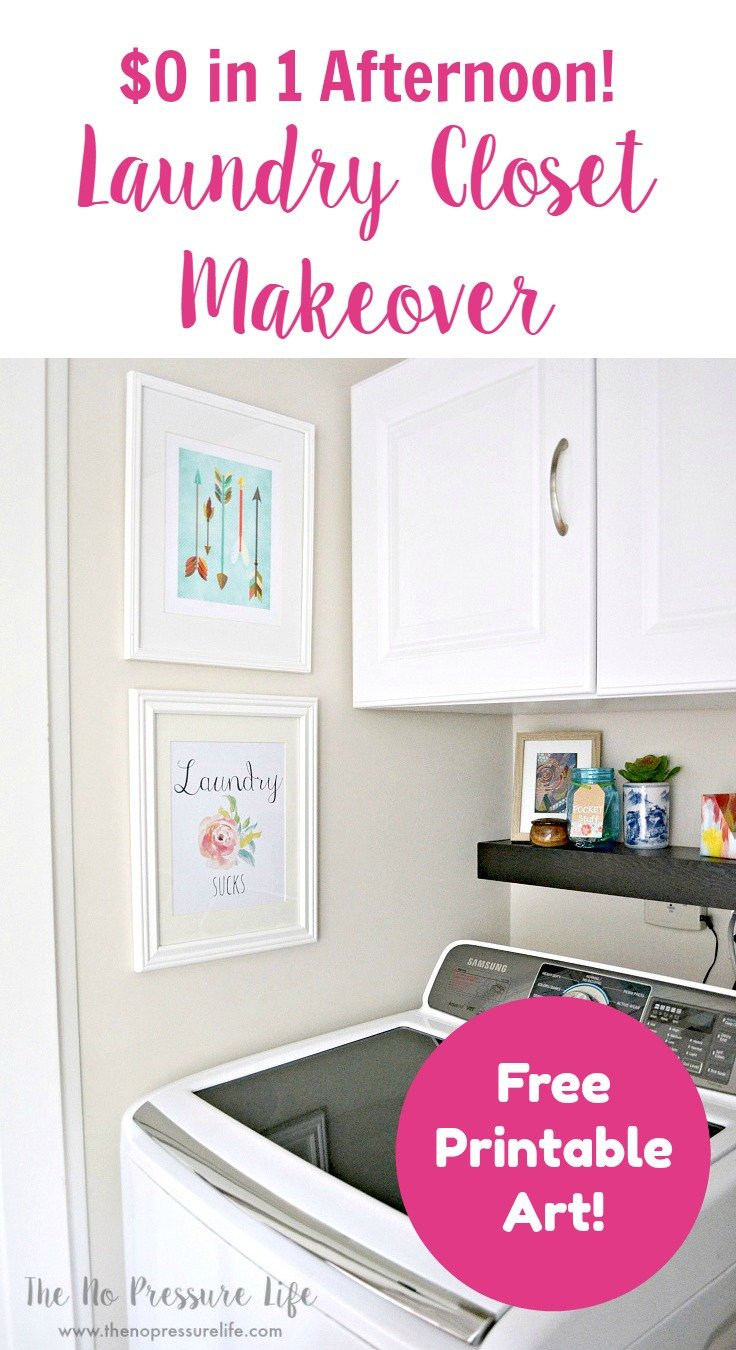 Small laundry closet makeover packed with organization and decor ideas for people on a budget.