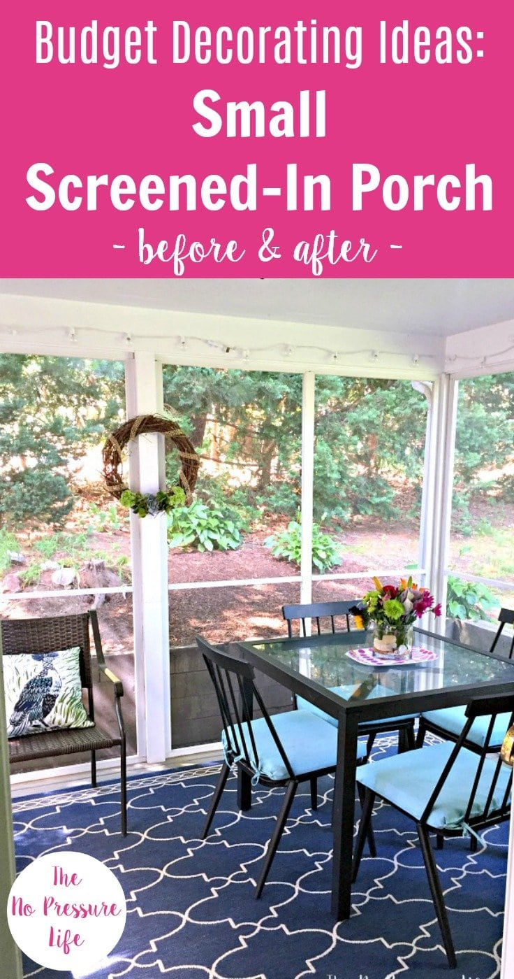 Decorating A Small Screened In Porch   Blue Indoor Outdoor Rug And Black  Patio Furniture