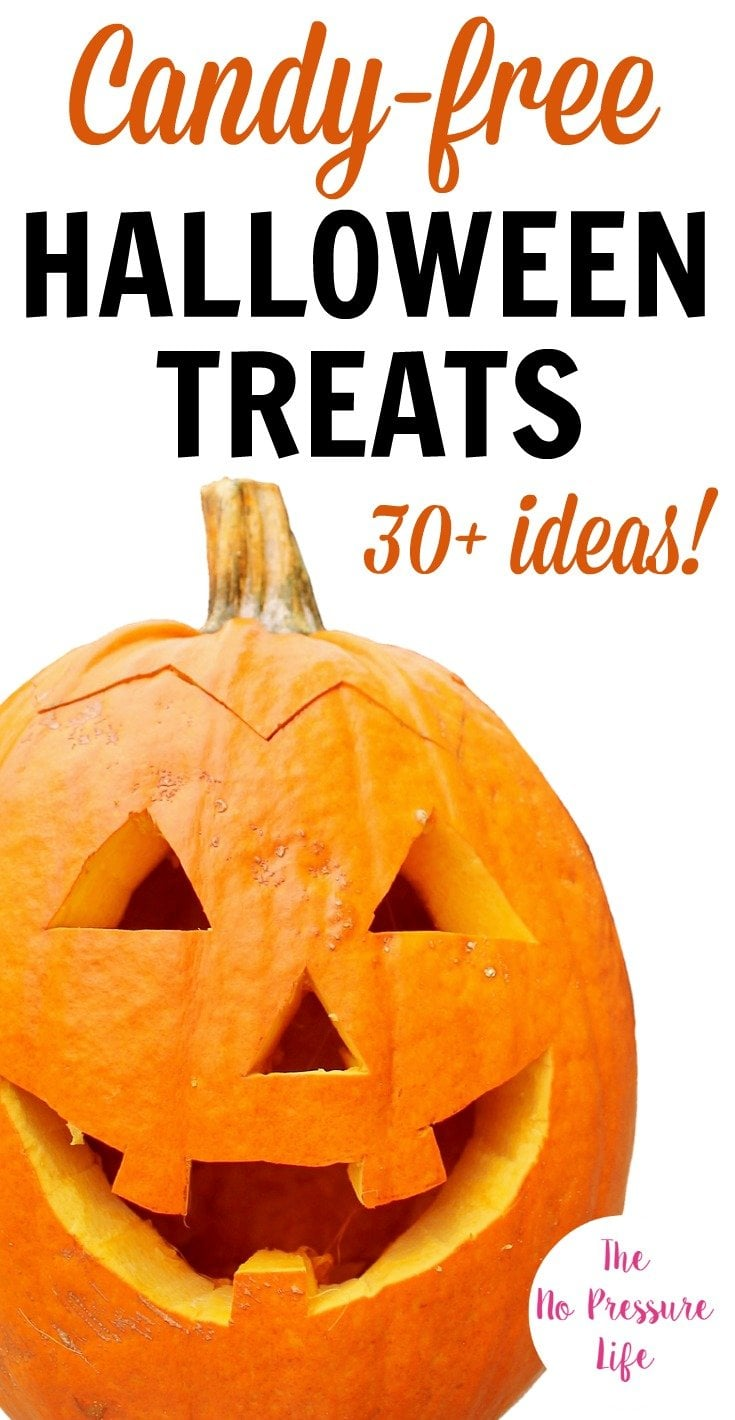 When it's time to trick-or-treat or host a Halloween party, these allergy-friendly, non-candy Halloween treats for kids will be a hit! With more than 30 cute easy ideas you can buy or DIY, you'll find the perfect treat for school, for work, or the neighborhood trick-or-treat event! #HalloweenTreats #HalloweenParty #TrickorTreat