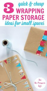 These gift bag and wrapping paper storage ideas are perfect for small spaces!