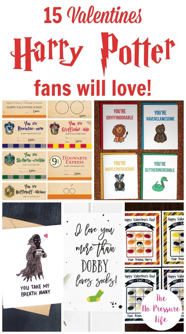 collage of Harry Potter Valentines cards to print or buy