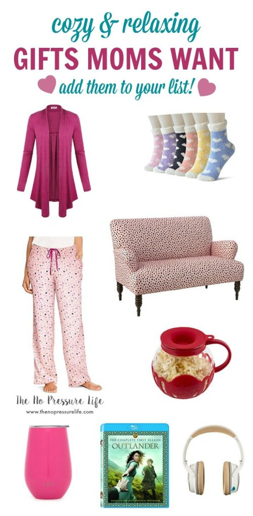 Variety of cozy Valentine's Day gifts for moms including socks, lounge pants, and a pink cardigan