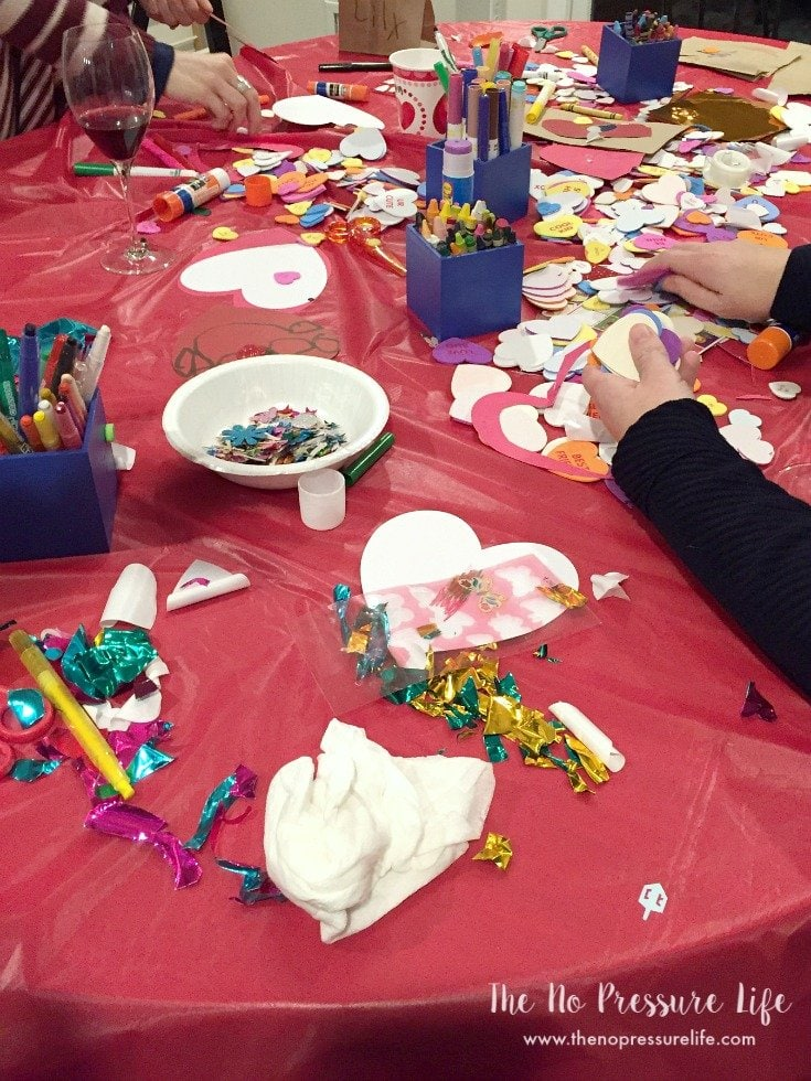 Valentine's Day party for kids - decorating bags to exchange cards