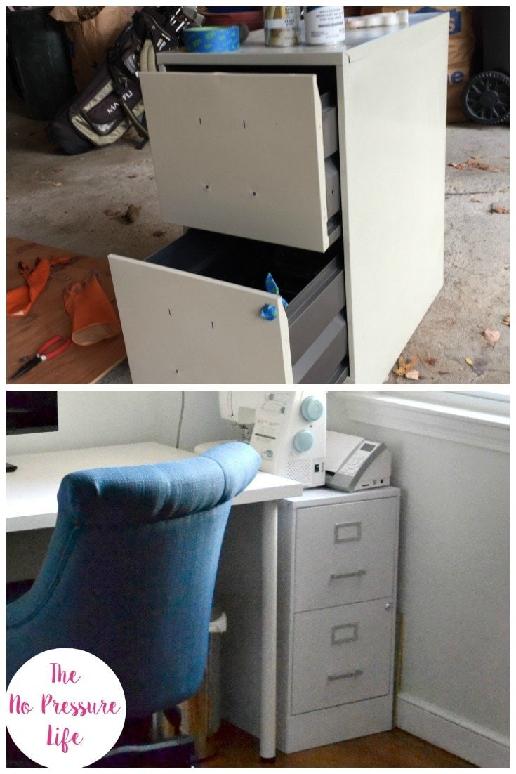 before and after collage of a filing cabinet makeover with spray paint