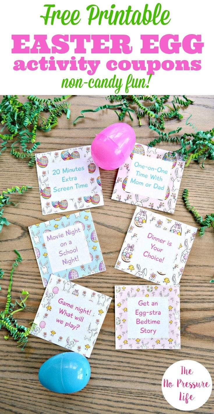 Free printable Easter egg coupons, each with an activity for kids.