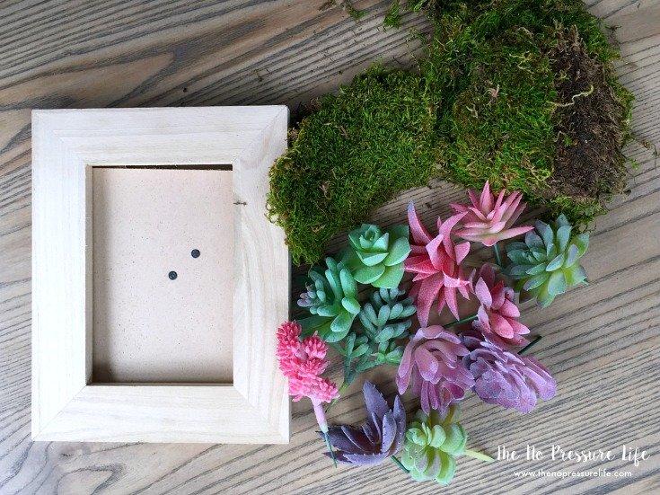 DIY framed fake succulent art supplies