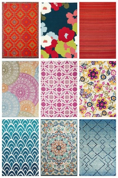 15 colorful outdoor rugs in warm reds, cool blues and more