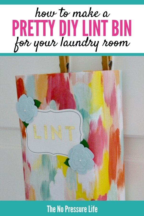 DIY laundry room lint bin tutorial