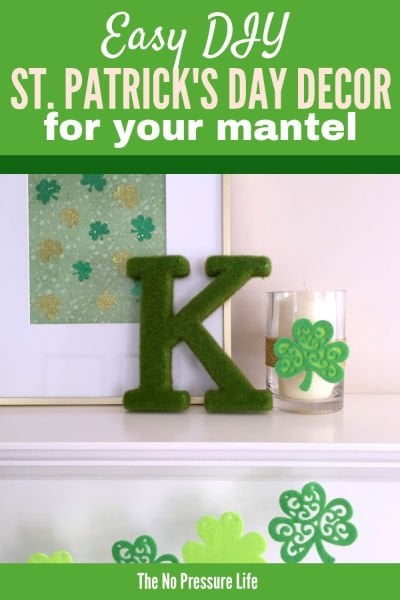 DIY St. Patrick's Day Mantel Decorations - green and gold
