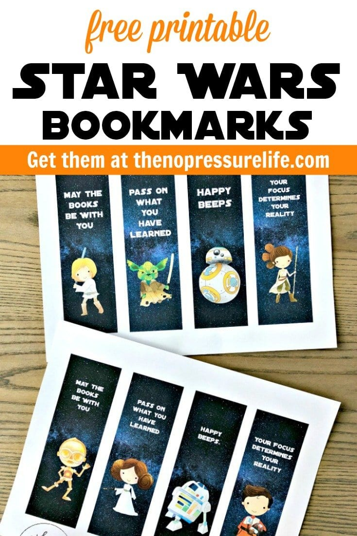 Free printable Star Wars Bookmarks with BB8, Rey, R2D2, C3PO, Rey and more.