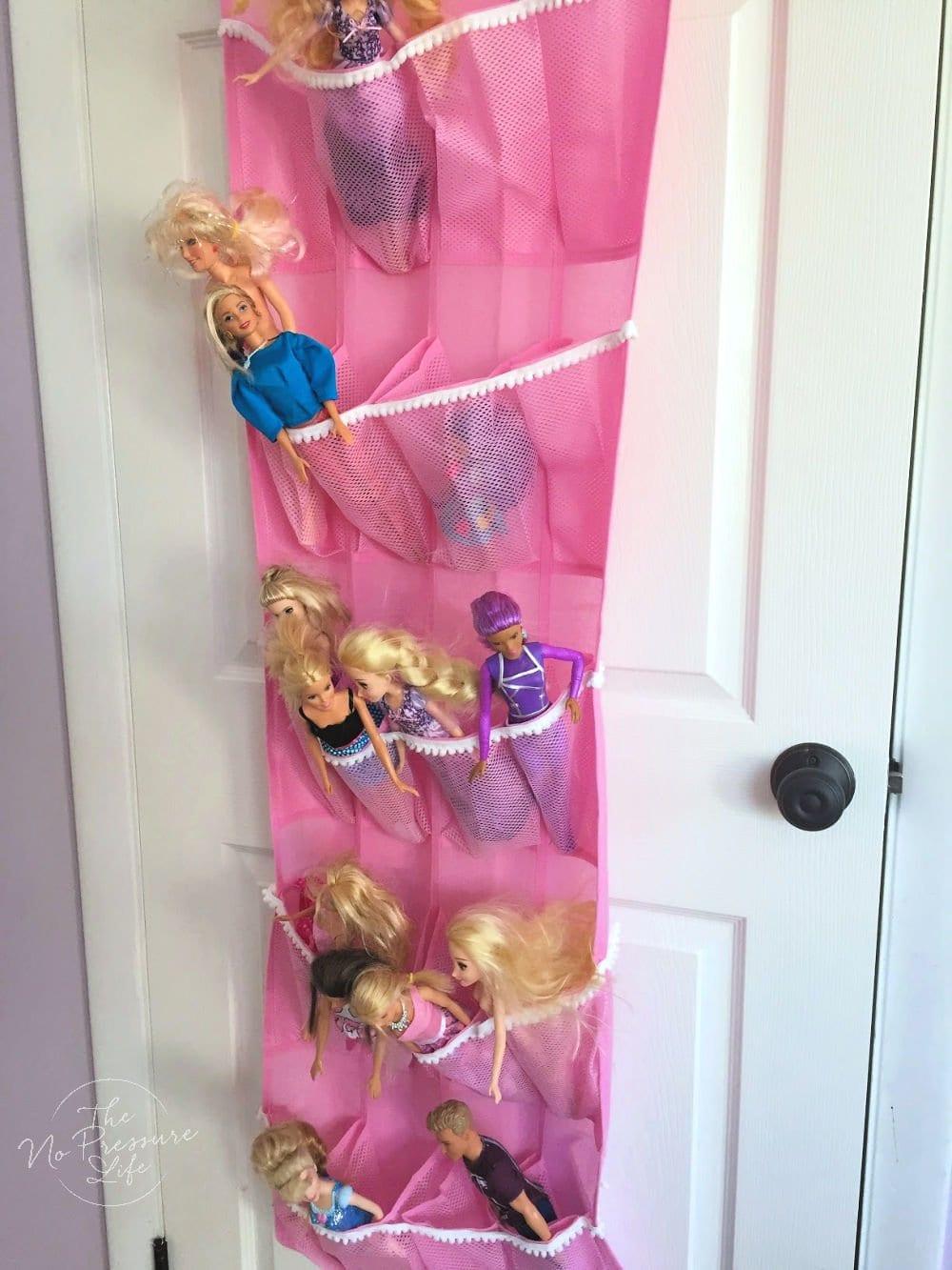 Barbie storage idea - hanging organizer for Barbies