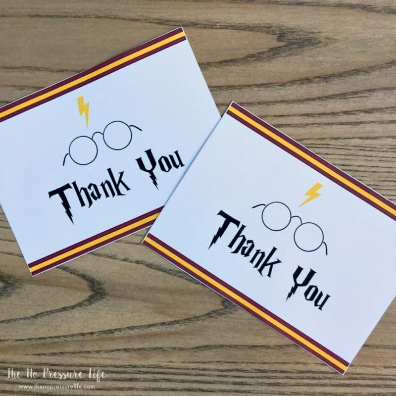 Free printable Harry Potter thank you notes (thank you cards)