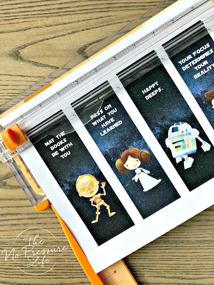 Free printable Star Wars Bookmarks to cut and print at home with C3PO, Princess Leia, R2D2, and more.
