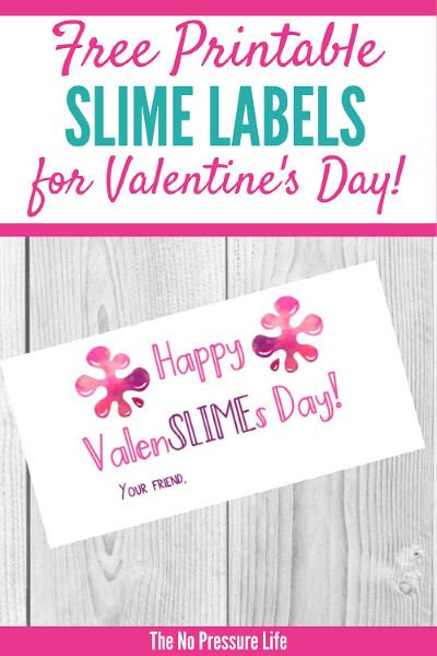 slime Valentines - free printable Valentine's Day slime labels