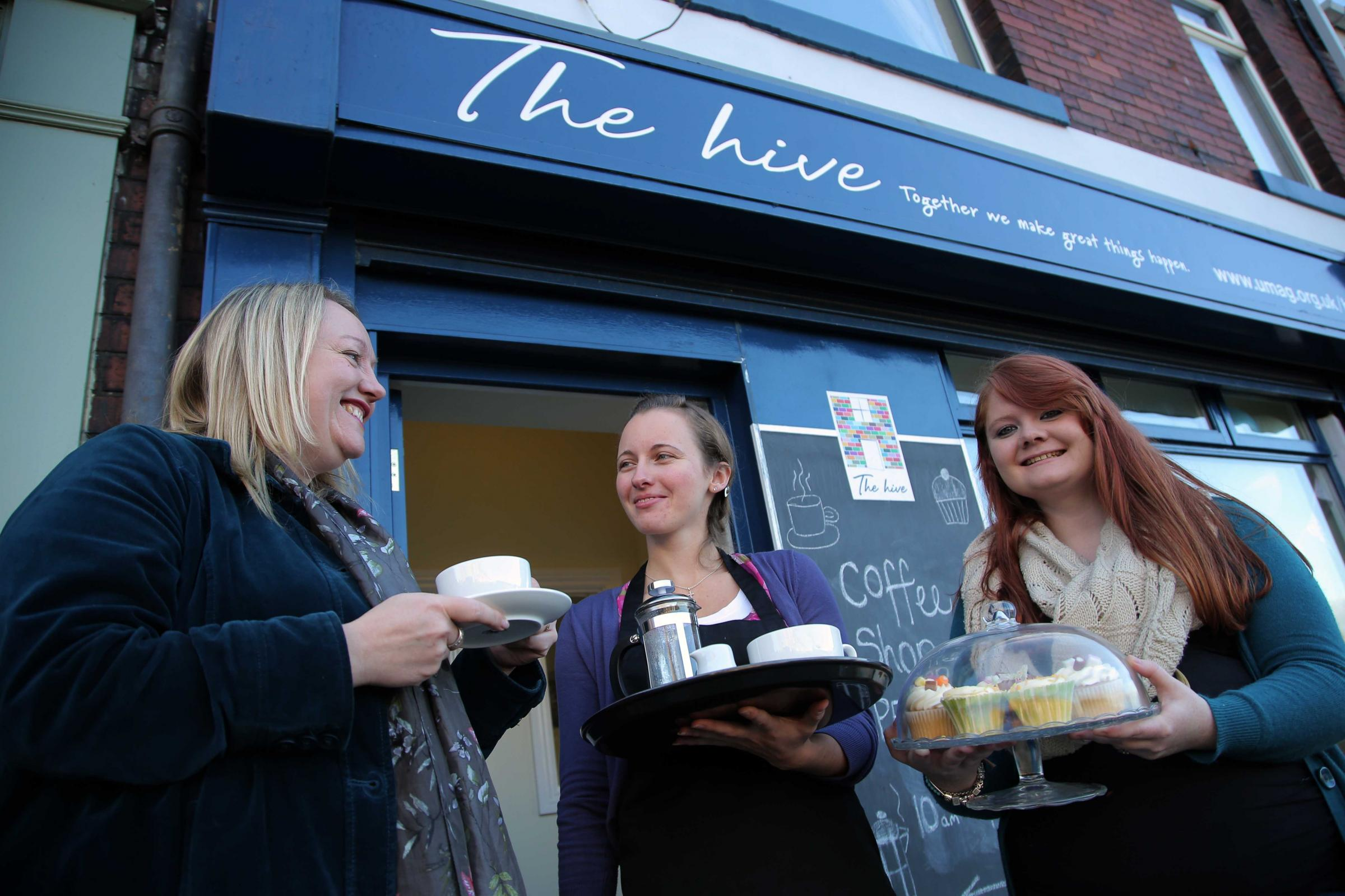 The opening of The Hive; a community cafe in Ushaw Moor. From left social entrepreneur Andrea Watts, Anne-Marie Booth and Rachel Shepherd, chair of Ushaw Moor Action Group