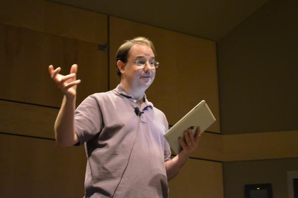 New York Times best-selling science fiction author John Scalzi talking about his latest book during an presentation at NKU.