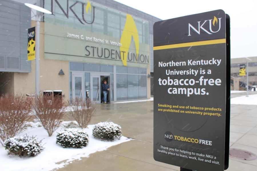 Tobacco-free+marketing+near+one+of+many+former+smoking+hot+spots+on+campus.+On+January+1%2C+2014+Northern+Kentucky+University+became+a+tobacco-free+campus.