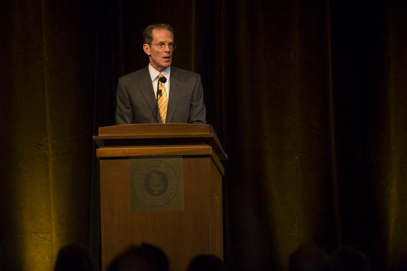 NKU+President+Geoffrey+Mearns+delivers+his+Spring+Convocation+to+NKU+staff+and+students%2C+explaining+his+ideas+for+the+Strategic+Plan+for+the+upcoming+years.+The+NKU+Spring+2014+Convocation+was+held+in+the+Student+Union+Ballroom+on+Friday%2C+January+10%2C+2014.
