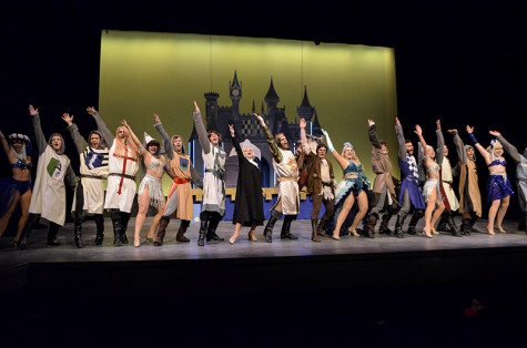 The entire cast of Spamalot takes the stage performing one of the many huge musical numbers in the show at one of their final dress rehearsals.