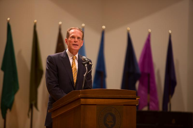 NKU+President+Geoffrey+Mearns+speaks+about+the+coming+year+during+his+Fall+2014+Convocation.+The+NKU+Fall+2014+Convocation+was+held+in+Greaves+Hall+on+NKU+campus+on+Friday%2C+Aug.+15%2C+2014.
