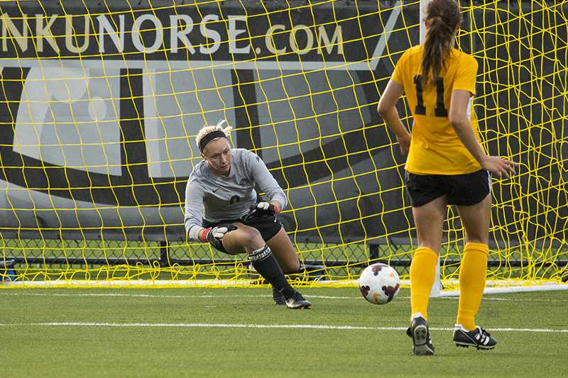 NKU+goalkeeper+Brooke+Schocker+dives+for+the+save+during+NKU%27s+1-1+tie+against+Xavier.+The+Norse+tied+Xavier+1-1+at+the+NKU+Soccer+Stadium+on+Sept.+9%2C+2014.