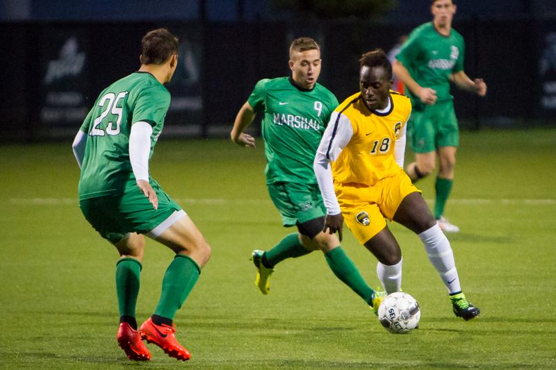 NKU+soccer+player+Yaw+Addai+scored+the+game-tying+goal+Wednesday+in+NKU%27s+2-1+victory+over+Eastern+Illinois.