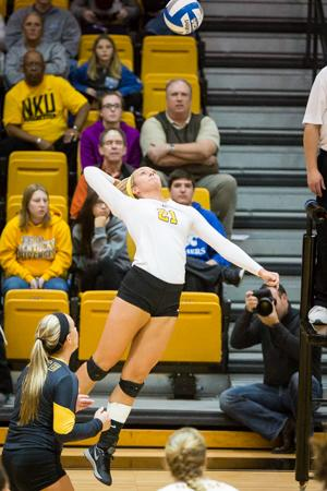 NKU's Jayden Julian jumps up to hit the ball across the net during NKU's 3-0 victory over Kennesaw St. NKU defeated Kennesaw State 3-0 at Regents Hall on NKU Campus on Nov. 14, 2014.
