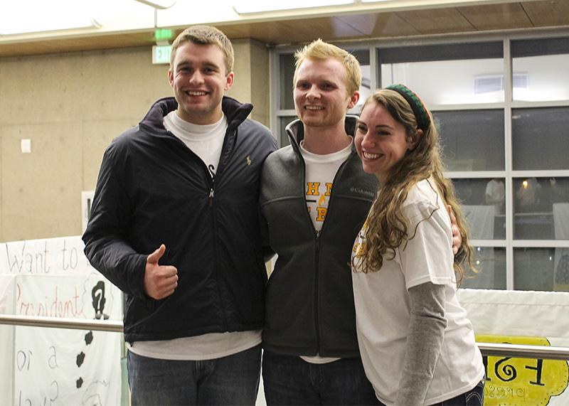 Will Weber (left), Patrick Reagan (center) and Kat Hahnel (right) pose for a picture after the 2015 Student Government Association Elections. Hahnel and Weber were voted president and vice president for the 2015-16 school year.