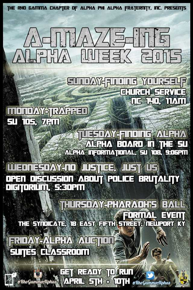 Alpha Week's flyer. This year is inspired by the film and book series 'The Maze Runner.'