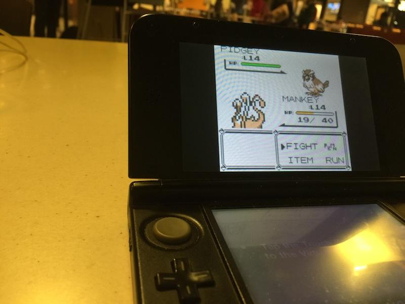 An+old+Pokemon+battle+takes+place+on+a+3DS.+The+retro+games+will+are+available+for+%2410.