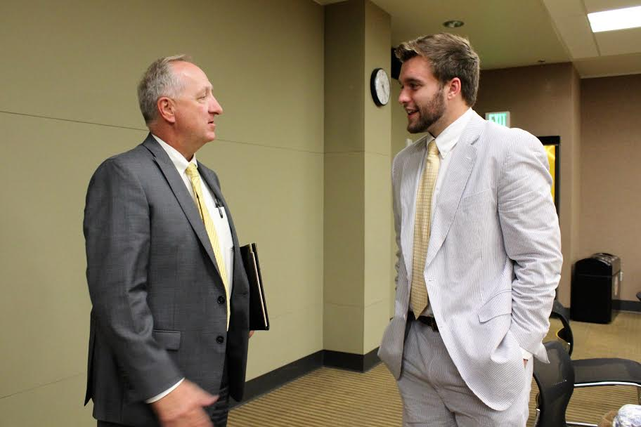 Dr. Daniel Nadler chats with SGA President Will Weber after the Aug. 22 meeting. Nadler was hired by Northern Kentucky University as the new Vice President of Student Affairs in May.