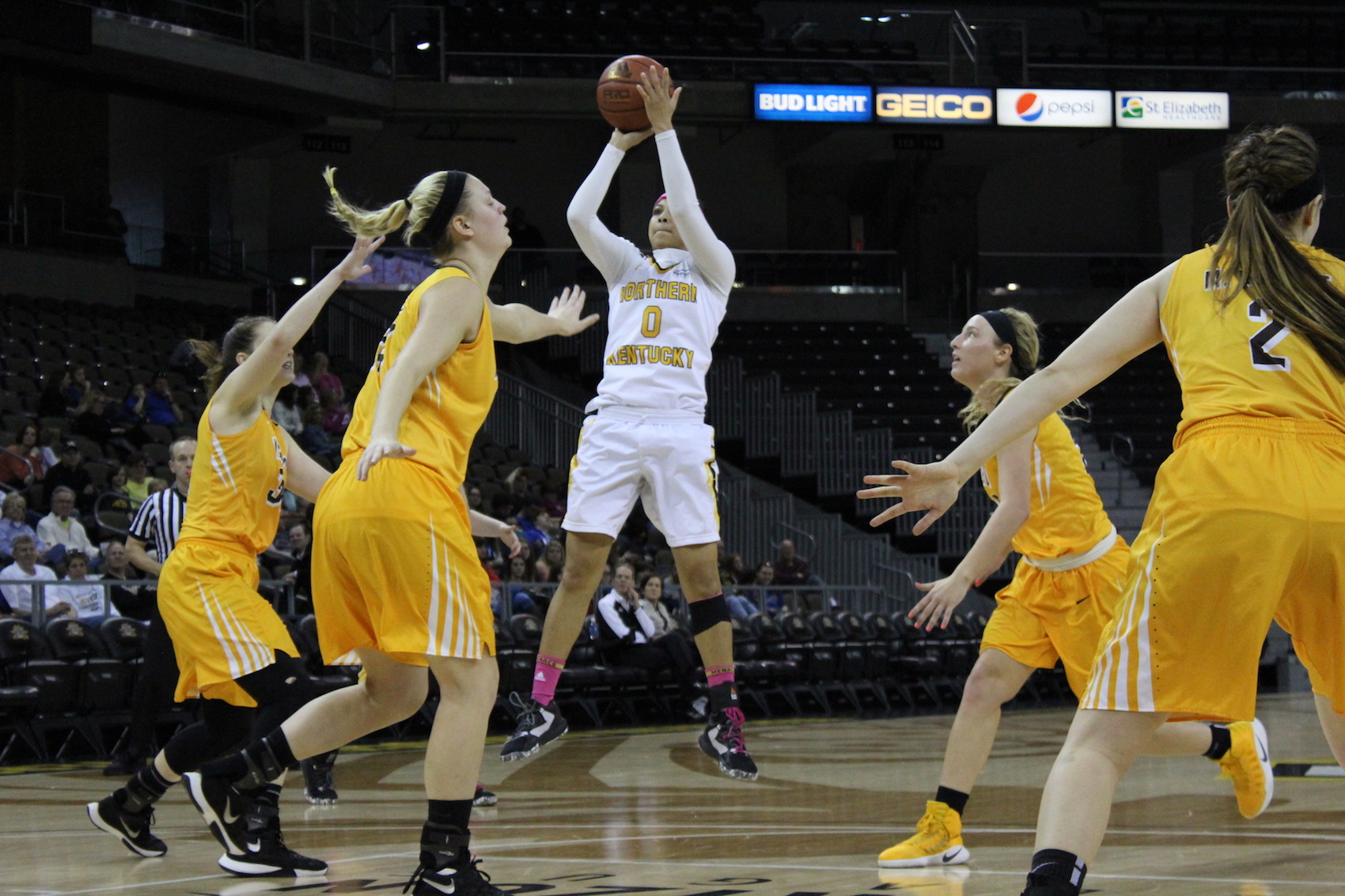 NKU's Shar'Rae Davis attempts a jump shot on Saturday at BB&T Arena