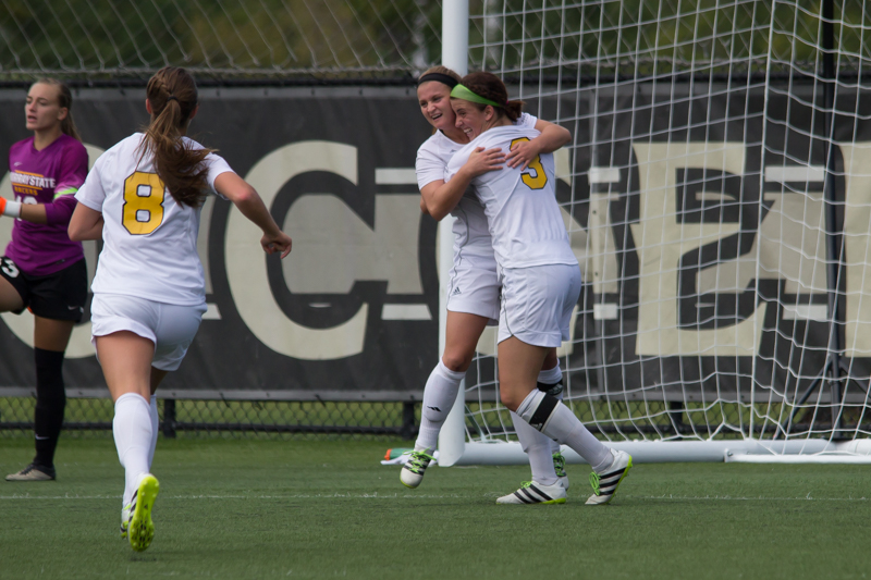 Jessica+Frey+%28left%29+and+Macy+Hamblin+%28right%29+celebrate+after+a+goal+by+Frey.