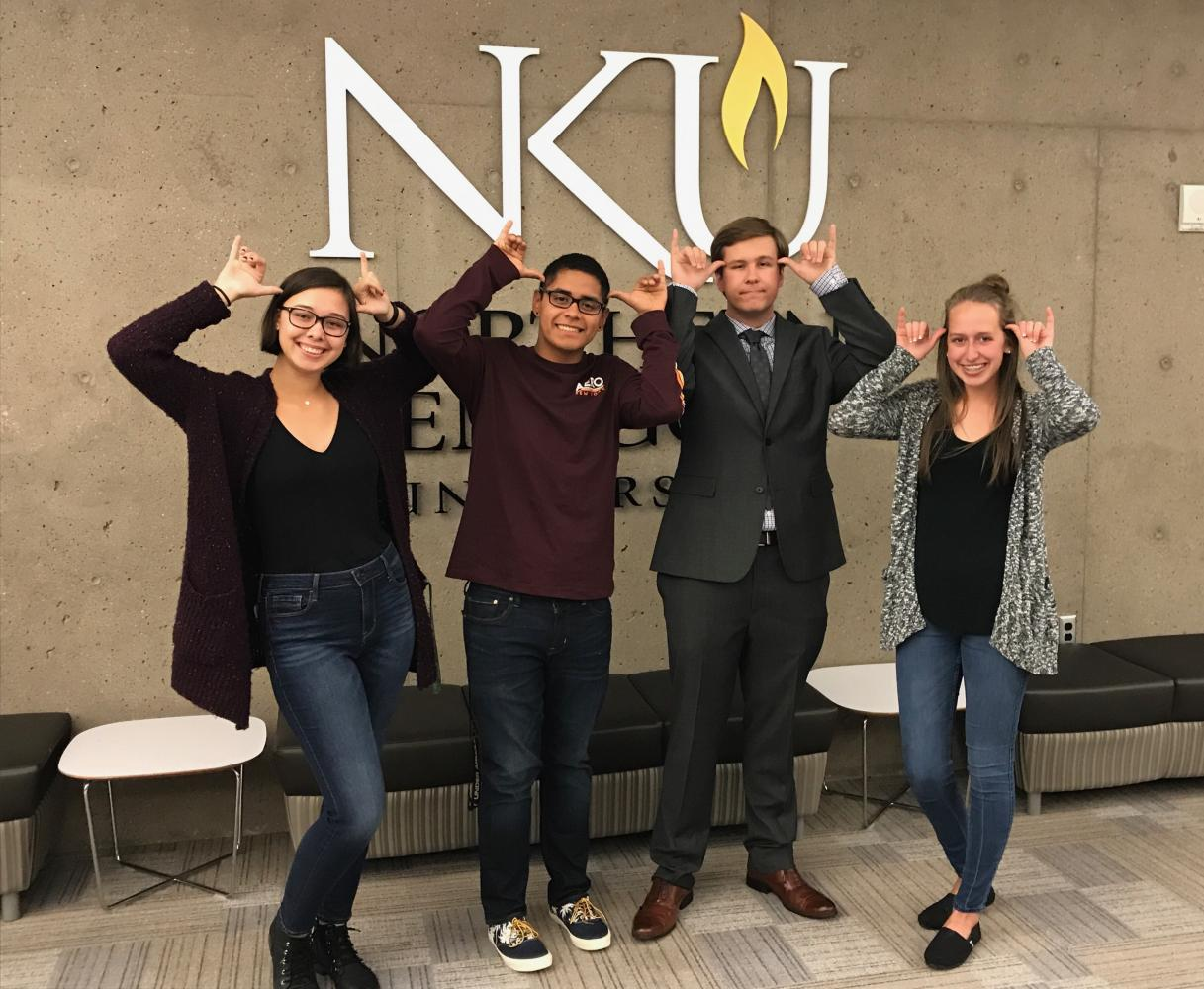 Freshman senate winners after results were announced. Left to right: Madison Jones, Roberto Amazendes, Jake Anderson and Paula Marie Gagné.