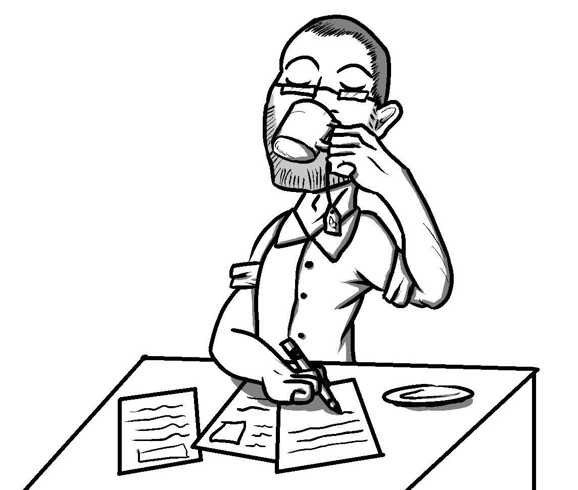Kellogg at his desk, as imagined by our cartoonist.