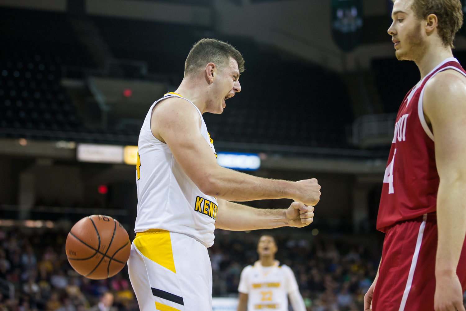 Drew McDonald (34) reacts to a point during the game against IUPUI. McDonald had 24 points on the game.