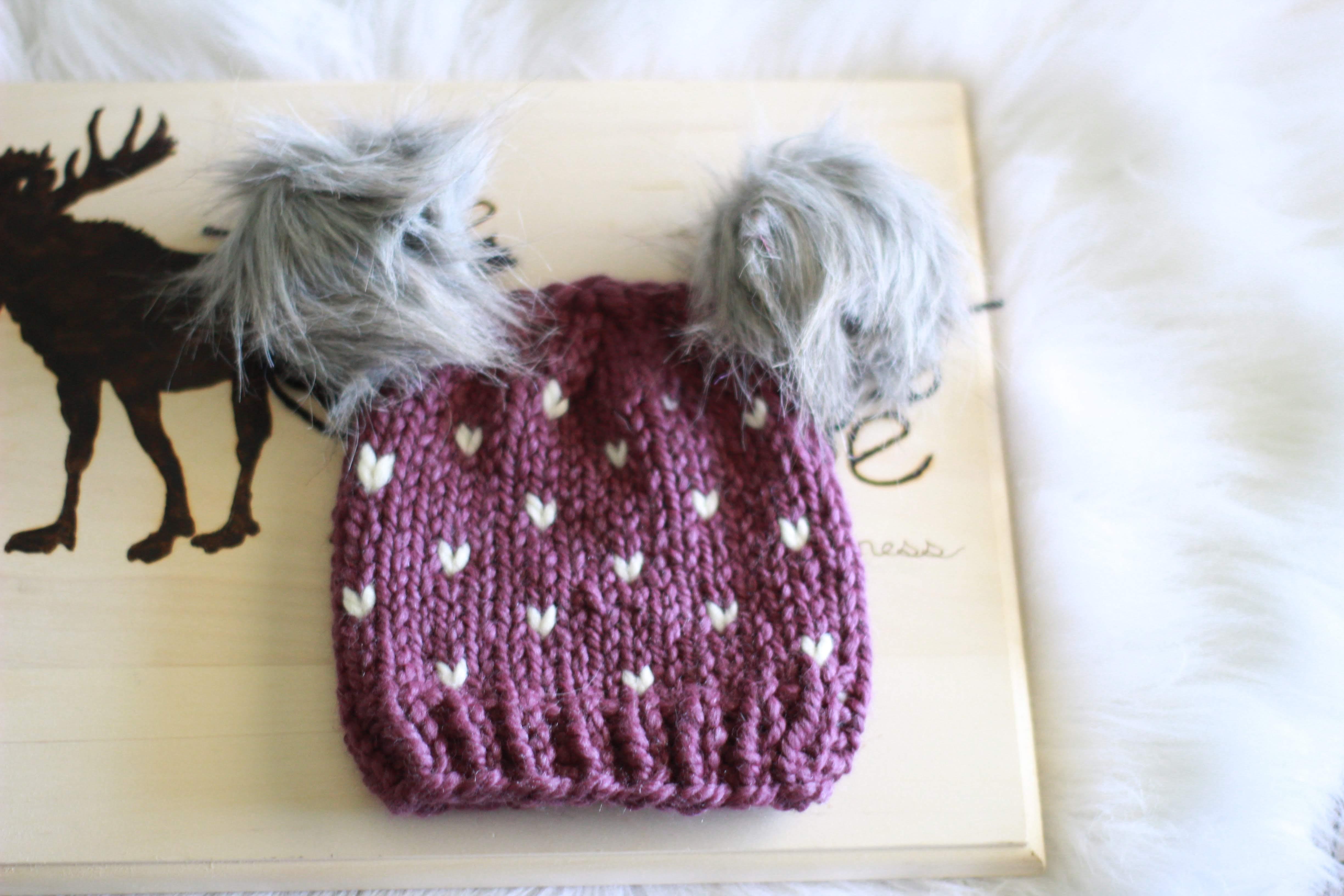 Little Hearts Knit Hat for Kids