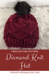 Free Knitting pattern, Diamond hat