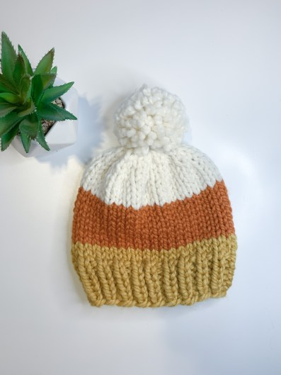 Candy corn knitted hat