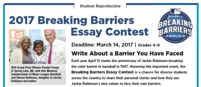 Jackie Robinson Breaking Barriers Essay Contest  Northside Chronicle Jr