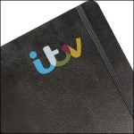 Image showing Custom Moleskine cover printed in 4 colours with ITV logo from the Notebook Warehouse