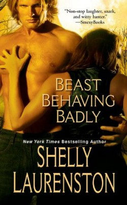 "The ""Pride"" series by Shelly Laurenston (especially ""Beast Behaving Badly"") Shelly Laurenston's ""Pride"" series is filled with huge alpha male shifters (the one in ""Beast Behaving Badly"" is part polar bear and part lion—yikes!). It also has more snark and hilarity than you can wag a tail at.  It is male/female romance."