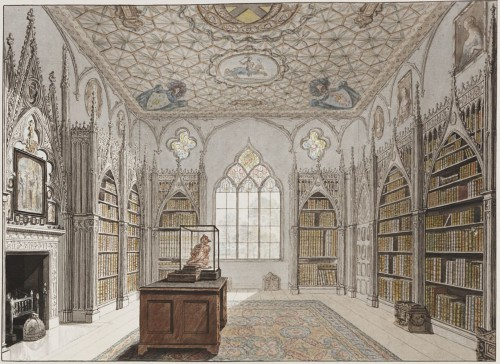 The library of Horace Walpole's Strawberry Hill gothic house. I love exploring unique interiors of homes and make them more alive to the point of being integral characters to the plot.