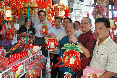 Meeting constituents on a walkabout during Chinese New Year 2010