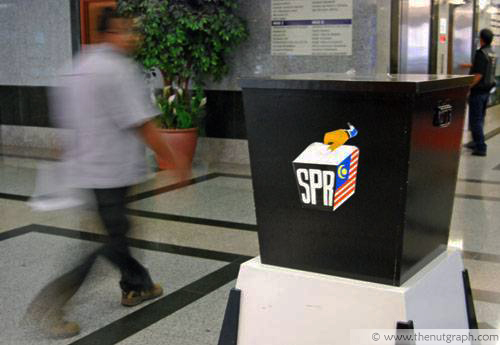 A ballot box at the entrance of the Election Commission