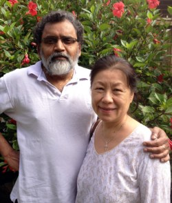 De Cruz and his wife Helen  in their Sydney garden. They will be flying back to vote (Courtesy of William de Cruz)