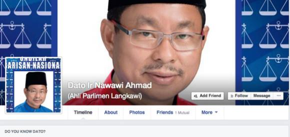 Screengrab of Nawawi's Facebook page
