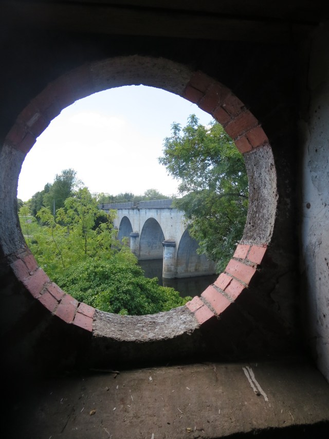 View of the bridge from the garage window.