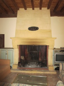 """The big 'mouth' of our fireplace, aka """"draft maker."""""""